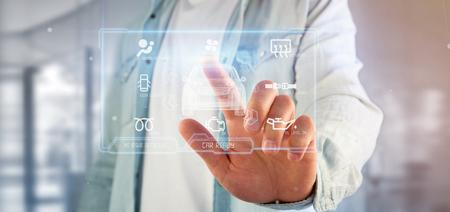 Weergave van een man met een dashboard smartcar interface dashboard 3D-rendering Stockfoto - 102815374