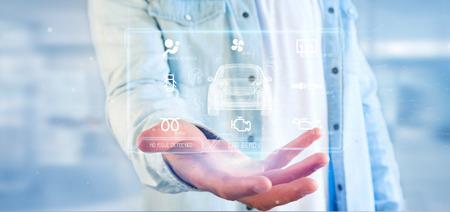 Weergave van een man met een dashboard smartcar interface dashboard 3D-rendering Stockfoto - 102815438