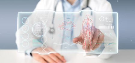 View of a Doctor holding a Futuristic template interface hud Stock Photo