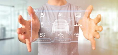 Weergave van een man met een dashboard smartcar interface dashboard 3D-rendering Stockfoto - 103192997