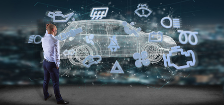 View of a Man holding a smartcar concept 3d rendering Stock Photo