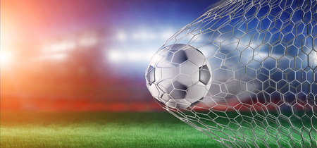 View of a Football ball in the net of a goal - 3d rendering
