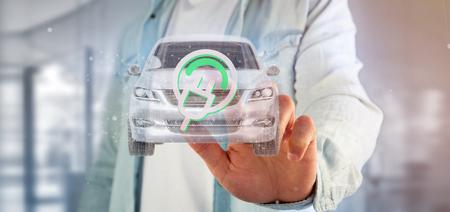 Weergave van een man met een elektrische smartcar concept 3D-rendering Stockfoto - 103193524