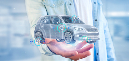 View of a Man holding a Smartcar with checkings 3d rendering