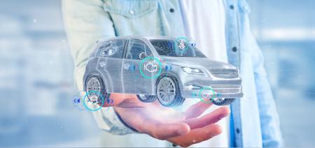 Vista di un uomo che tiene una Smartcar con controlli rendering 3d