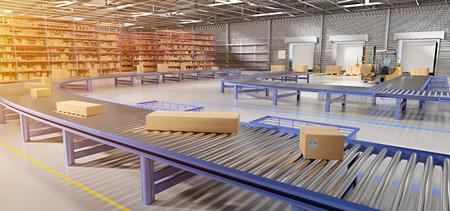 Vista de una representación 3d de fondo de stock de mercancías de almacén