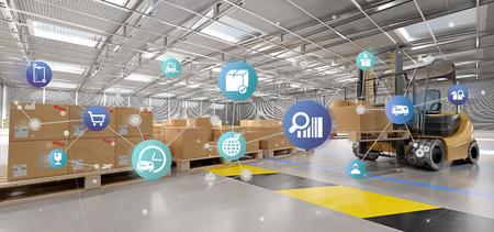 Vue d'une organisation logistique sur un fond d'entrepôt rendu 3d