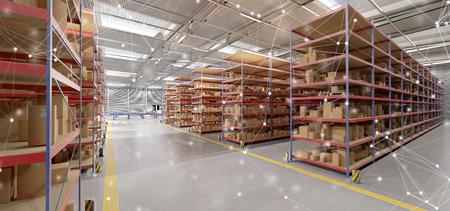 Vista de una conexión sobre una representación 3d de fondo de stock de mercancías de almacén