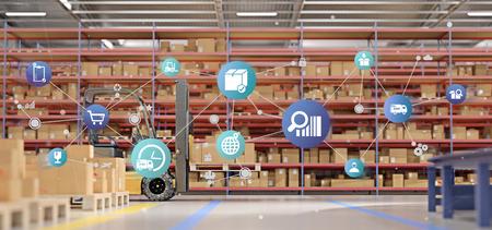 Vista di un'organizzazione logistica su un rendering 3d sfondo magazzino