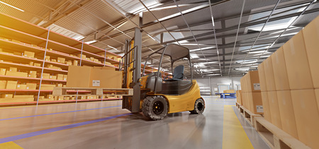 View of a Warehouse goods stock background 3d rendering Stok Fotoğraf