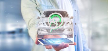 Weergave van een man met een elektrische smartcar concept 3D-rendering Stockfoto - 105481609