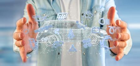 Weergave van een man met Smartcar-pictogram rond een auto 3D-rendering Stockfoto - 105482485