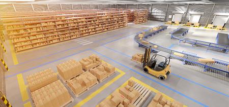 Vista de una representación 3d de fondo de stock de mercancías de almacén Foto de archivo
