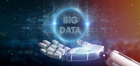 View of a Cyborg hand holding a Big data title 3d rendering