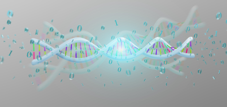View of a 3d rendering data coded Dna with binary file around Фото со стока