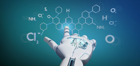 View of a Cyborg hand holding a  molecule structure 3d rendering