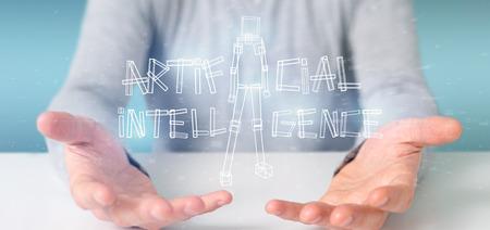 View of a Businessman holding an artificial inteligence robot made of light 3d rendering