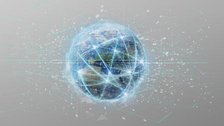 vista de una conexión por un globo de mundo aislado en un fondo representación 3d Foto de archivo