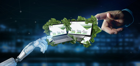 View of a Cyborg holding a Connected devices surrounding by leaves 3d rendering