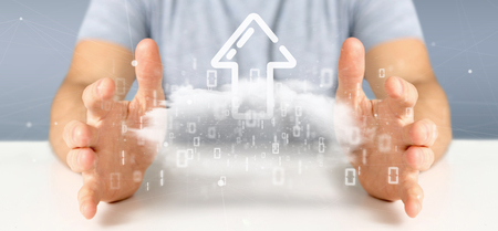 View of a Businessman holding a Binary cloud with upload internet arrow 3d rendering Stock Photo