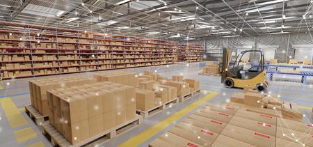 Vue du stock de marchandises de l'entrepôt
