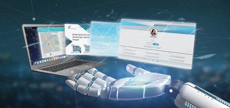 View of a Cyborg hand holding a Website application going out a laptop screen 3d rendering