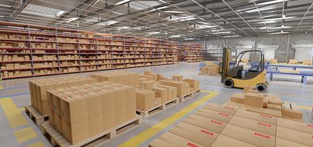 Vista de una representación 3d de stock de mercancías de almacén