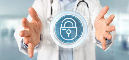 View of Doctor holding Security padlock wheel icon with stats and binary code 3d rendering Stock Photo