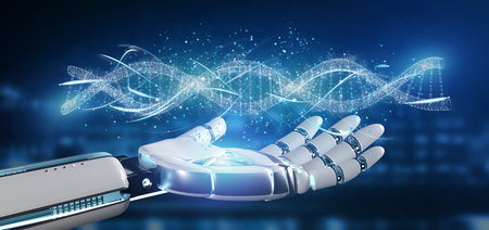 View of a Cyborg hand holding a DNA branch 3d rendering