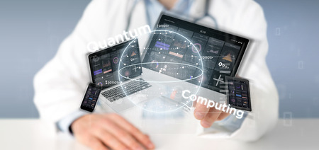 View of Doctor holding Quantum computing concept with qubit and devices 3d rendering