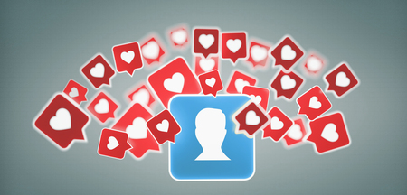 View of a Like notification on a contact on a social media 3d rendering
