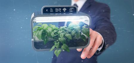 View of a Businesmann holding a Digital vegetal plant connected Reklamní fotografie