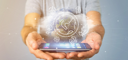 View of a Businessman holding a World globe surronding by ecology icons and connection 3d rendering