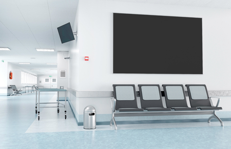 View of a Mock up of a frame in a waiting room of a hospital Foto de archivo - 116823397
