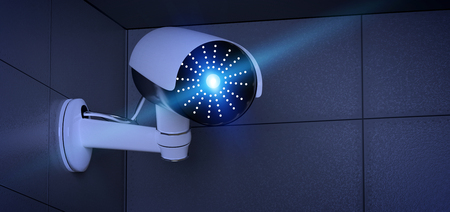 View of a Security CCTV camera system - 3d rendering Standard-Bild