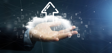 View of a Businessman holding a Binary cloud with upload internet arrow 3d rendering