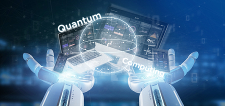 View of Cyborg hand holding Quantum computing concept with qubit and devices 3d rendering Stock Photo