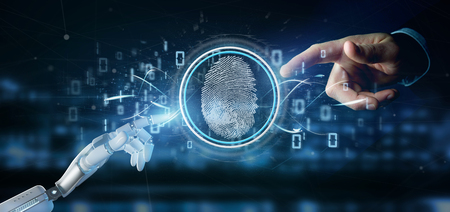 View of a Cyborg holding a Digital fingerprint identification and binary code 3d rendering Foto de archivo