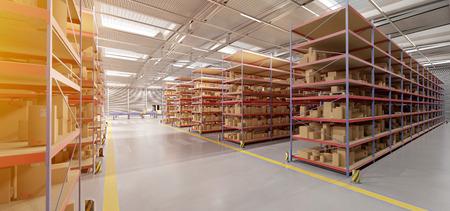 View of a Warehouse goods stock background 3d rendering Reklamní fotografie