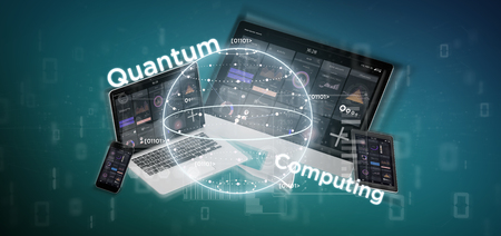 View of Quantum computing concept with qubit and devices 3d rendering
