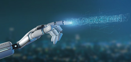 View of a Cyborg hand holding a Blockchain title 3d rendering