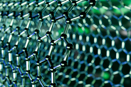 View of a graphene molecular nano technology structure on a green
