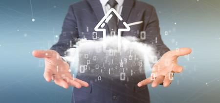 View of a Businessman holding a Binary cloud with upload internet arrow 3d rendering Reklamní fotografie