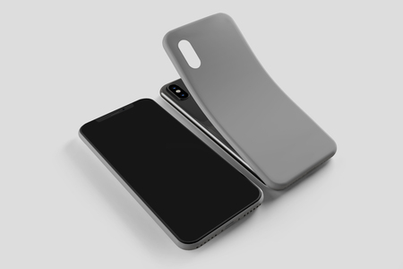 View of a Smartphone Screen and Case Mockup - 3d rendering