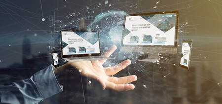 View of a Businessman holding a Devices connected to a global business network 3d rendering