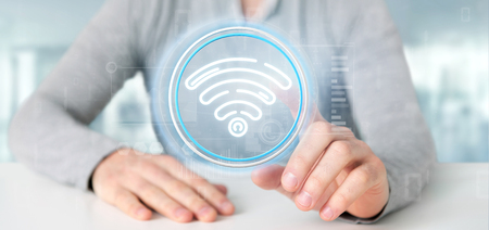 View of Businessman holding Wifi icon with stats and binary code 3d rendering