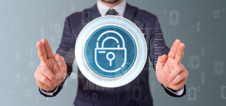 View of Businessman holding Security padlock wheel icon with stats and binary code 3d rendering