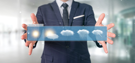 View of a Businessman holding a Weather Forecast widget 3d rendering