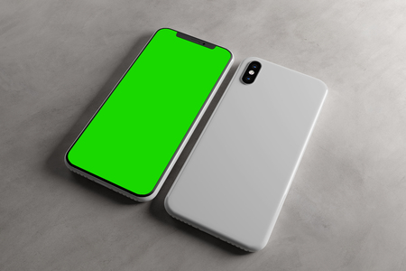 View of a Smartphone Screen and Case Mockup - 3d rendering Foto de archivo - 121935442