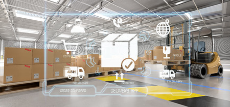 View of a Logistic delivery service application on a warehouse